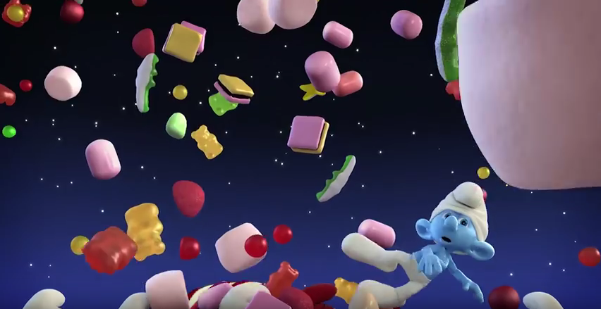 Haribo Smurfs – 2D version of a 3D cinema ad